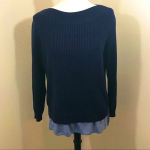 Tommy Hilfiger Navy Cable Knit Boatneck Sweater S